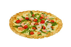Pizza italiana saporita con isolato su fondo bianco Immagine Stock