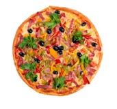 Pizza italiana saporita. Napoletano isolato Immagini Stock