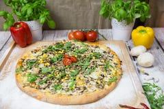 Pizza italiana vegetal com fundo foto de stock