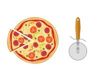 Pizza italienne avec la tomate, saucisse Illustration Stock