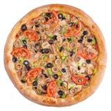 Pizza italienne, vue supérieure, d'isolement sur le fond blanc d'isolement Photo libre de droits