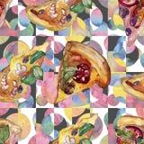 Pizza itallian d'aliments de pr?paration rapide dans un ensemble d'isolement par style d'aquarelle Mod?le sans couture pour aquar illustration stock
