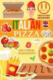 Pizza from Italy delivery service vector poster vector illustration