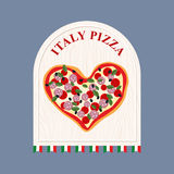 Pizza in Italy. Pizza in  shape of a heart. Sign for Italian caf Royalty Free Stock Images