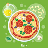 Pizza with its ingredients Stock Photography