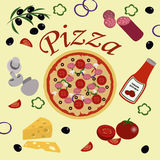 Pizza with Its Ingridients Stock Photography