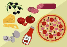 Pizza with Its Ingridients Stock Image