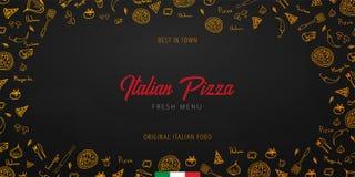 Pizza karmowy menu dla restauraci i kawiarni Projekta sztandar z pociągany ręcznie graficznymi elementami w doodle stylu również  zdjęcia stock