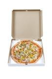 Pizza in kartondoos royalty-vrije stock foto's