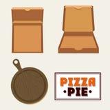 Pizza kartonu i kulebiaka pudełka projekt Zdjęcia Stock