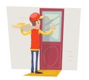 Pizza-Kasten-Bote-Mann-Konzept, das Kunden-Tür-Wand-Hintergrund-an der Retro- Karikatur-Design-Vektor-Illustration klopft Lizenzfreie Stockfotografie