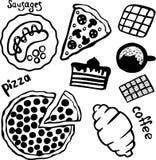 Pizza, kawa i cukierki odizolowywający na białym tle, royalty ilustracja