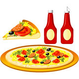 Pizza and ketchup Royalty Free Stock Photos