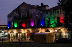 Pizza Kitchen Multicolored Lights Building in New Orleans Stock Images