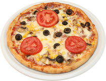 Pizza Kontandina with onion ham cheese  and tomatoes Stock Image
