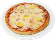 Pizza Koriola med ostbaconägget och skinka Royaltyfri Fotografi