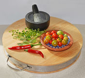 Pizza-Kräuter und Gemüse frisch vom Garten Lizenzfreies Stockfoto