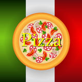 Pizza label Stock Photography