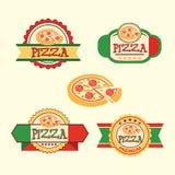 Pizza, label, logo pizza shop, pizzeria or café Royalty Free Stock Photos