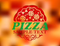 Pizza label on red colorful background Stock Images