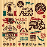 Pizza labels collection. Stock Photos