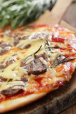 Pizza with lamb meat Stock Photography
