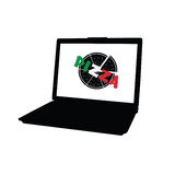 Pizza on laptop vector Royalty Free Stock Photos