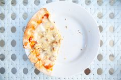 Pizza Last Three Slices. On The White Plate stock image