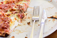 Pizza leftovers Stock Images
