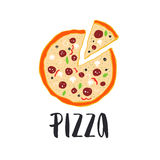Pizza lettering with hand drawn pizza circle. Stock Photos