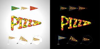Pizza letters logo. Pizza logo. Black & white background, type inscription. Decoration graphic typescript Business advertising design template, isolated abstract royalty free illustration