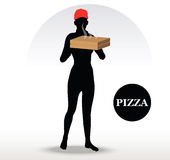 Pizza-Lieferungs-Person Stockbilder