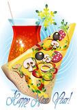 Pizza in light blue. Card with piece of pizza and glass of wine against light blue background stock illustration