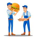 Pizza, livreur d'aliments de préparation rapide dans l'uniforme et boîtes à pizza, vecteur disponible d'hamburger énorme Illustra illustration de vecteur