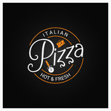 Pizza logo badge design background Stock Photography