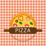 Pizza Logo Beautiful Sun Vector Fotografie Stock