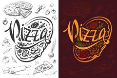 Pizza logo or food poster design. Vector template royalty free illustration