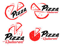 Pizza Logo. An illustration representing an abstract pizza logo with pizza slice and sample text Stock Photography