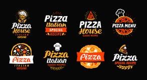 Pizza logo, label, element. Pizzeria, restaurant, food set icons. Vector illustration Stock Photography