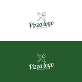 Pizza logo. Pizza slice. Stock Photo