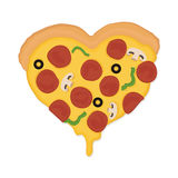 Pizza Love. Piece of pizza in the form of heart Royalty Free Stock Image