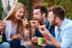 Pizza lovers. royalty free stock images