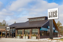 Pizza Luce Restaurant Exterior and Sign Stock Images