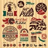 Pizza märker samlingen. Arkivfoton
