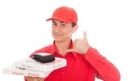 Pizza mężczyzna zdjęcie stock