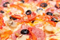Pizza, macro Immagine Stock
