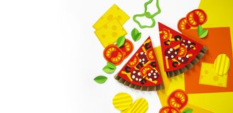 Pizza made from Craft paper. Ingredients for cooking. Processed cheese and tomatoes. View from above. White background. Party for a children`s party stock illustration