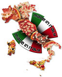 Pizza made in Italy. Italian territory with pizza and italian flag, made in Italy with a written Stock Photo