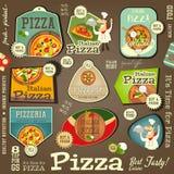 Pizza majchery Ustawiający royalty ilustracja