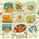 Pizza majchery Ustawiający ilustracja wektor